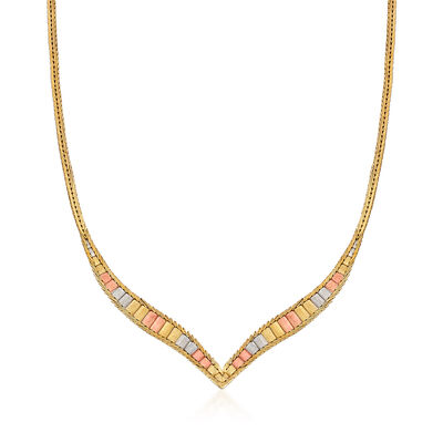 C. 1980 Vintage 14kt Tri-Colored Gold Chevron Necklace
