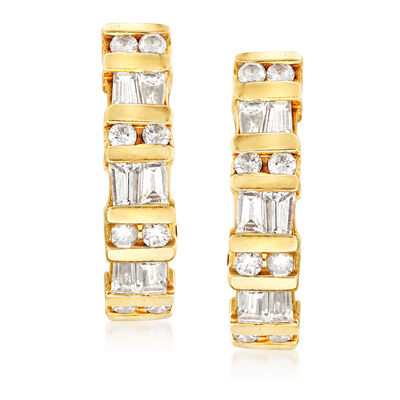 C. 1980 Vintage 1.65 ct. t.w. Diamond J-Hoop Earrings in 14kt Yellow Gold, , default