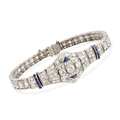 C. 1980 Vintage 3.00 ct. t.w. Diamond and .40 ct. t.w. Synthetic Sapphire Bracelet in Platinum