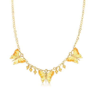 C. 1990 Vintage Yellow Glass and Multicolored Enamel Butterfly Necklace in 14kt Yellow Gold