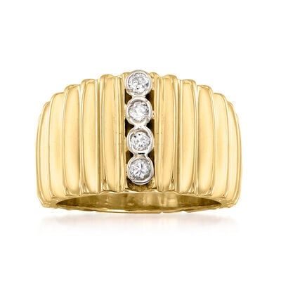 C. 1980 Vintage .20 ct. t.w. Diamond Ribbed Ring in 14kt Yellow Gold