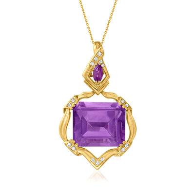 C. 1980 Vintage 31.48 ct. t.w. Amethyst Pendant Necklace with .40 ct. t.w. Diamonds in 18kt Yellow Gold