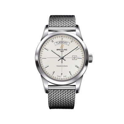 Breitling Transocean Day-Date Men's 43mm Stainless Steel Watch, , default
