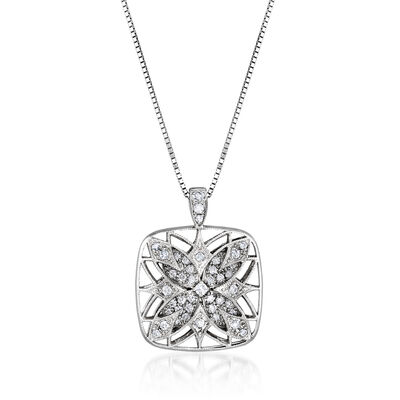 C. 2000 Vintage .48 ct. t.w. Diamond Floral Pendant Necklace in 18kt White Gold, , default
