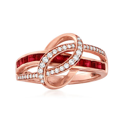 C. 1980 Vintage .75 ct. t.w. Ruby and .25 ct. t.w. Diamond Swirl Ring in 14kt Rose Gold, , default