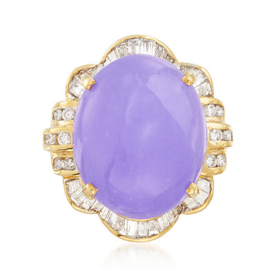 C. 1980 Vintage Purple Jade and .75 ct. t.w. Diamond Ring in 18kt Yellow Gold, , default