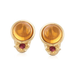 C. 1980 Vintage 14.00 ct. t.w. Citrine and .40 ct. t.w. Rhodolite Garnet Earrings in 18kt Yellow Gold, , default