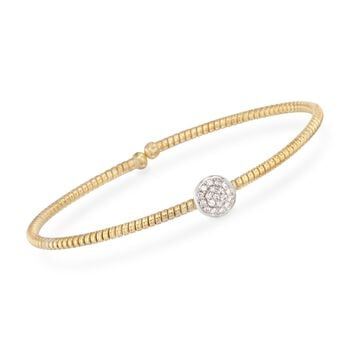"Simon G. .15 Carat Total Weight Diamond Circle Flex Bangle in 18-Karat Yellow Gold. 7"", , default"