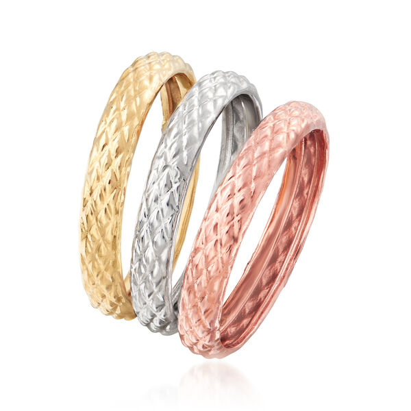 18kt Tri-Colored Gold Jewelry Set: Three Quilted Textured Rings. #908511