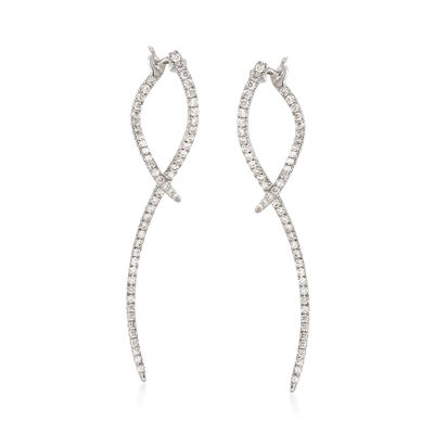 Gabriel Designs .47 ct. t.w. Diamond Double-Wave Drop Earrings in 14kt White Gold