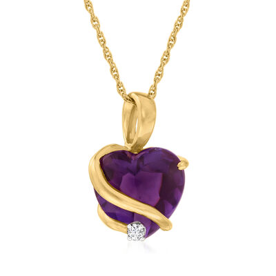 C. 1990 Vintage 5.30 Carat Amethyst Heart Pendant Necklace with Diamond Accent in 14kt Yellow Gold