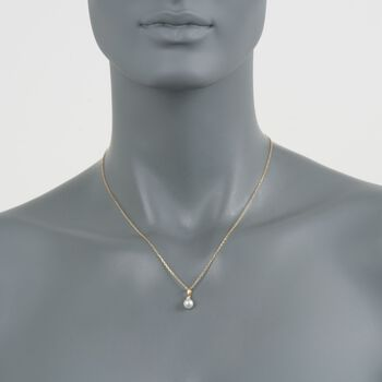Mikimoto Akoya Pearl and Diamond Pendant in 18-Karat Yellow Gold. 18""