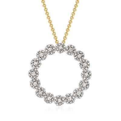 C. 1980 Vintage .85 ct. t.w. Diamond Circle Pendant Necklace in 10kt Two-Tone Gold and 14kt Yellow Gold