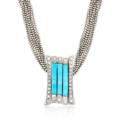 C. 1990 Vintage Turquoise and .70 ct. t.w. Diamond Slide Pendant Necklace in 18kt White Gold, , default