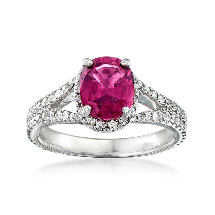 C. 1990 Vintage 1.85 Carat Pink Tourmaline and .85 ct. t.w. Diamond Ring in 14kt White Gold. Size 6.5, , default