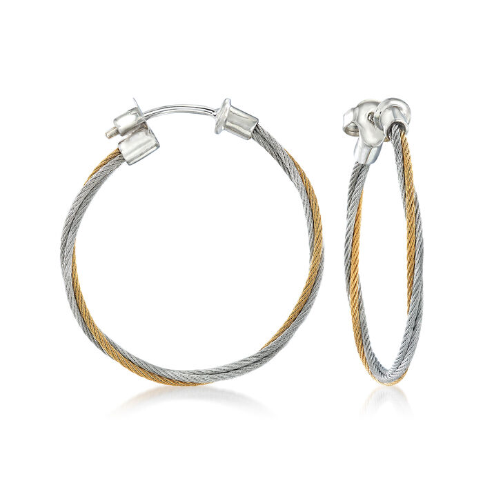 """ALOR """"Classique"""" Yellow and Gray Stainless Steel Cable Hoop Earrings with 18kt White Gold"""