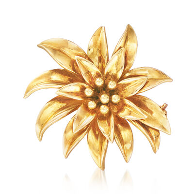 C. 1970 Vintage Tiffany Jewelry 18kt Yellow Gold Flower Pin