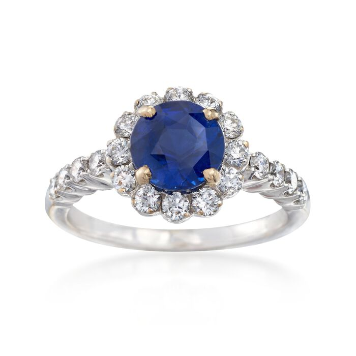 C. 1990 Vintage 1.90 Carat Sapphire and .75 ct. t.w. Diamond Ring in 18kt White Gold. Size 6.5