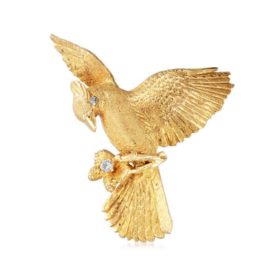 C. 1980 Vintage .15 ct. t.w. Diamond Eagle Pin in 10kt Yellow Gold, , default