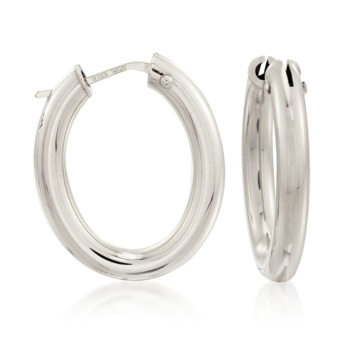Roberto Coin Medium Oval Hoops in 18-Karat White Gold, , default