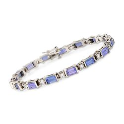C. 2000 Vintage 6.75 ct. t.w. Tanzanite and 1.75 ct. t.w. Diamond Bracelet in 18kt White Gold, , default