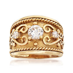 C. 1990 Vintage 1.00 ct. t.w. CZ Ring in 10kt Yellow Gold, , default