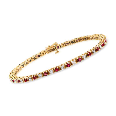 C. 1990 Vintage 2.08 ct. t.w. Ruby and .26 ct. t.w. Diamond Tennis Bracelet in 14kt Yellow Gold, , default