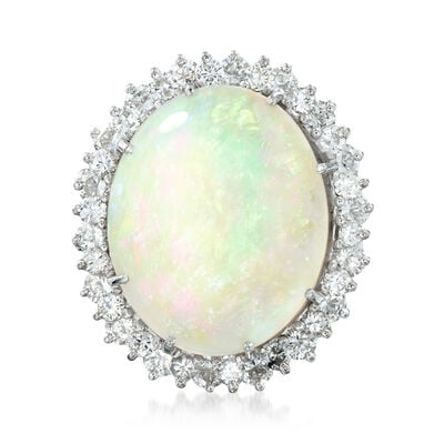 C. 1990 Vintage Opal and 1.90 ct. t.w. Diamond Ring in 14kt White Gold, , default