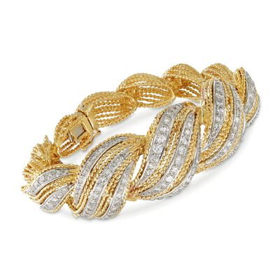 C. 1980 Vintage 3.00 ct. t.w. Diamond Twist Bracelet in 18kt Yellow Gold, , default