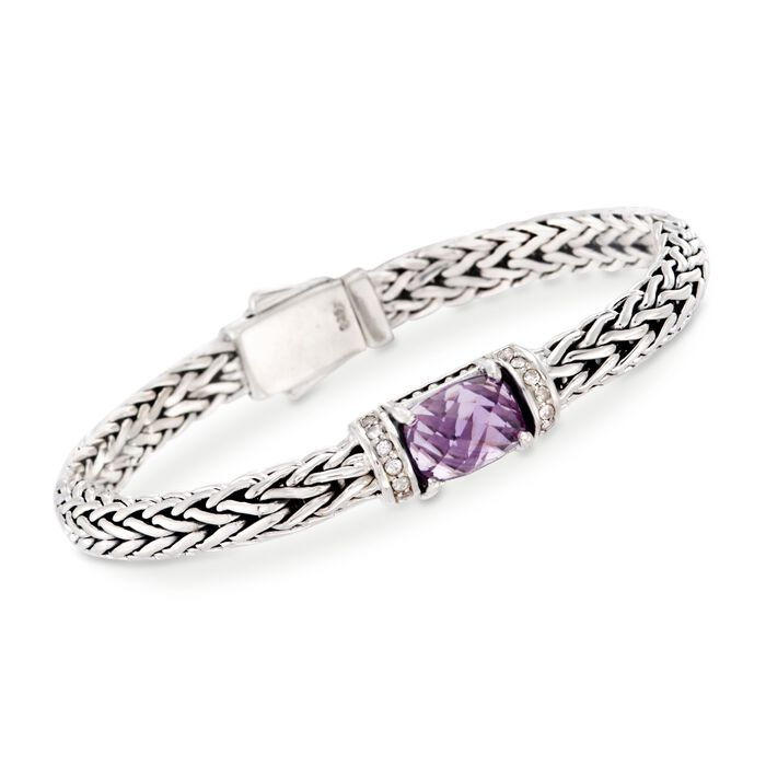 "Phillip Gavriel ""Woven"" 3.50 Carat Amethyst and .30 ct. t.w. White Sapphire Link Bracelet in Sterling Silver. 7.5"""