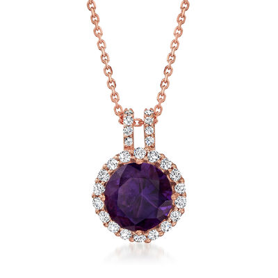 C. 1990 Vintage Tressora 2.45 Carat Amethyst Pendant Necklace with .40 ct. t.w. Diamonds in 18kt Rose Gold