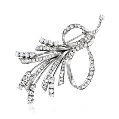 C. 1970 Vintage 3.50 ct. t.w. Diamond Ribbon Pin in 18kt White Gold