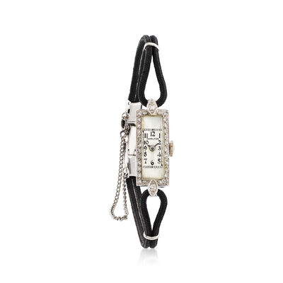 C. 1930 Vintage Women's 11mm Mechanical .33 ct. t.w. Diamond Watch in 14kt White Gold, , default