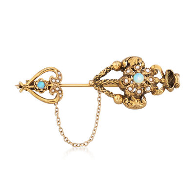 C. 1980 Vintage Opal and Cultured Pearl Heart and Crown Pin in 14kt Yellow Gold, , default