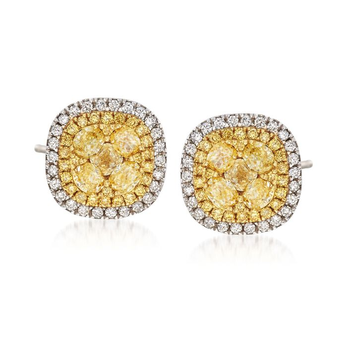 Gregg Ruth 1.98 Carat Total Weight Yellow and White Diamond Halo Studs in 18-Karat Two-Tone Gold, , default