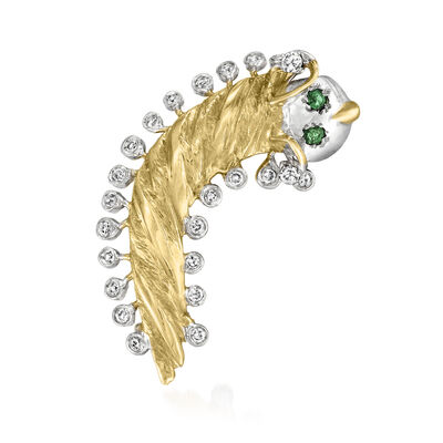 C. 1970 Vintage .40 ct. t.w. Diamond Bug Pin with .10 ct. t.w. Emeralds in 14kt Two-Tone Gold