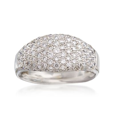 C. 1990 Vintage 1.25 ct. t.w. Pave Diamond Dome Ring in 18kt White Gold