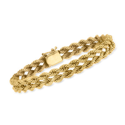 C. 1980 Vintage 14kt Yellow Gold Double-Rope Bracelet