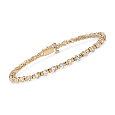 C. 1990 Vintage 4.20 ct. t.w. Diamond Tennis Bracelet in 14kt Yellow Gold, , default