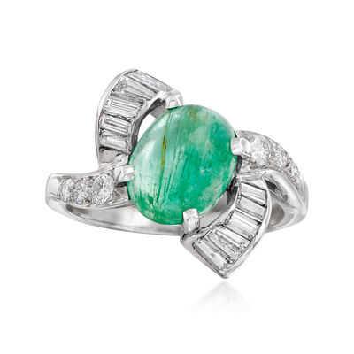 C. 1970 Vintage 1.85 Carat Emerald and .60 ct. t.w. Diamond Ring in 14kt White Gold, , default