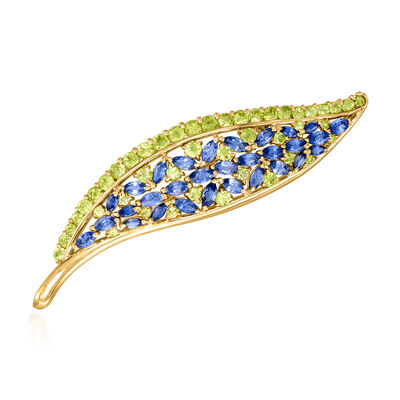 C. 1970 Vintage 4.84 ct. t.w. Sapphire and 3.47 ct. t.w. Peridot Leaf Pin in 18kt Yellow Gold