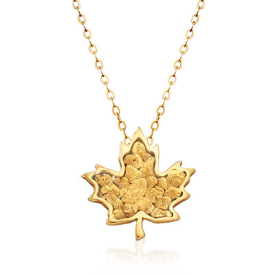 C. 1980 Vintage Maple Leaf Pendant Necklace in 14kt and 22kt Yellow Gold, , default