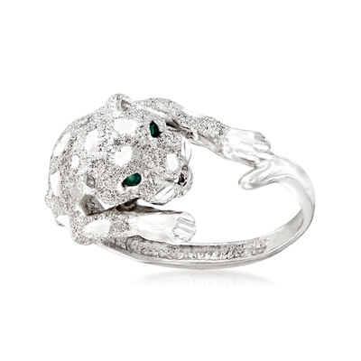 C. 2000 Vintage 18kt White Gold Panther Ring with Green Enamel