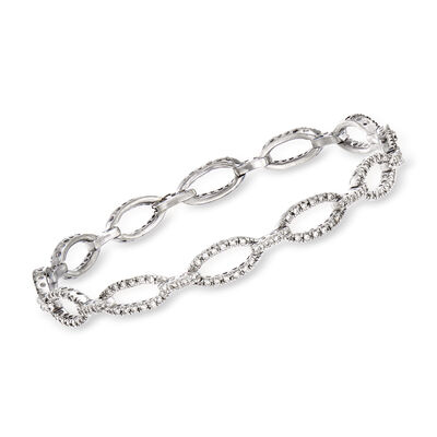 C. 1980 Vintage 1.15 ct. t.w. Diamond Oval-Link Bracelet in 14kt White Gold, , default