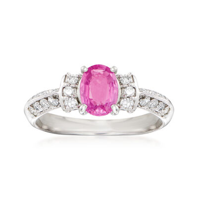 C. 1990 Vintage .71 Carat Pink Sapphire Ring with .22 ct. t.w. Diamonds in Platinum