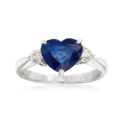 C. 1980 Vintage 2.51 Carat Sapphire Heart and .20 ct. t.w. Diamond Ring in Platinum