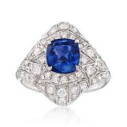 C. 2000 Vintage 2.60 Carat Sapphire and 1.26 ct. t.w. Diamond Ring in 18kt White Gold, , default