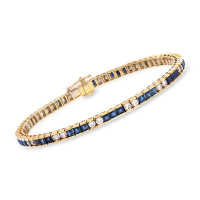 C. 1980 Vintage 7.00 ct. t.w. Sapphire and 2.00 ct. t.w. Diamond Bracelet in 18kt Yellow Gold, , default