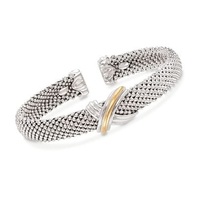 "Phillip Gavriel ""X"" Sterling Silver and 18kt Gold Cuff Bracelet"
