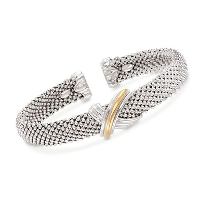 "Phillip Gavriel ""X"" Sterling Silver and 18kt Gold Cuff Bracelet, , default"